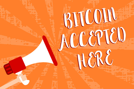 Conceptual hand writing showing Bitcoin Accepted Here. Business photo showcasing you can purchase things through Cryptocurrencies Script message warning signals speakers alarming convey