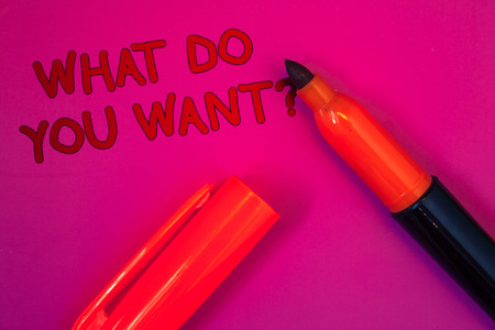 Conceptual hand writing showing What Do You Want Question. Business photo text Aspiration Contemplation Need Contemplate Aspire Magenta color platform dark red color tidings corner red marker Stock Photo