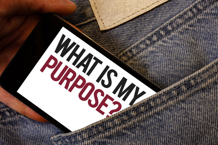Writing note showing  What Is My Purpose Question. Business photo showcasing Direction Importance Discernment Reflection Human hand bring out cell phone with colorful text jeans back pocket