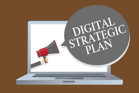 Text sign showing Digital Strategic Plan. Conceptual photo creat schedule for marketing product or brand Laptop desktop speaker alarming warning sound announcements indication idea