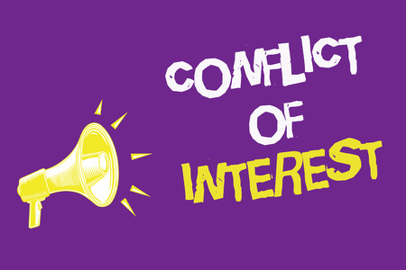 Handwriting text Conflict Of Interest. Concept meaning disagreeing with someone about goals or targets Three lines text idea messages ideas alarm speaker symbol announcement Stock Photo