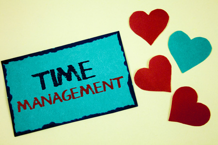 Word writing text Time Management. Business concept for Schedule Planned for Job Efficiency Meeting Deadlines Turquoise note ideas black red letters words hearts frame beige background Stock Photo