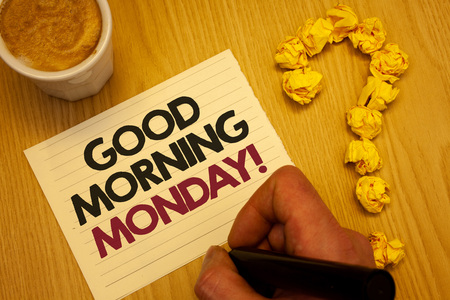 Conceptual hand writing showing Good Morning Monday Motivational Call. Business photo showcasing Happy Positivity Energetic Breakfast Wooden desktop hand hold marker page coffee question mark