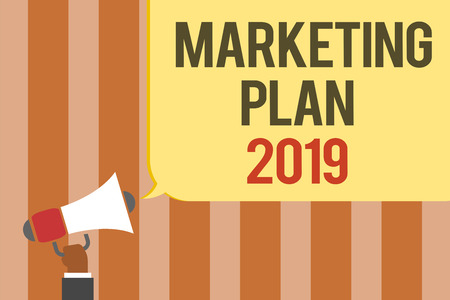 Writing note showing Marketing Plan 2019. Business photo showcasing schedule defining brand selling way in next year Multiline text board typing make announcement declare messages idea