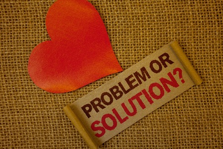Word writing text Problem Or Solution Question. Business concept for Think Solve Analysis Solving Conclusion Lavender pink page with red border and content pink paper heart lovely trice