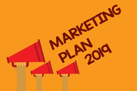 Word writing text Marketing Plan 2019. Business concept for schedule defining brand selling way in next year Three lines text messages ideas multiple alarm speaker symbol announcement
