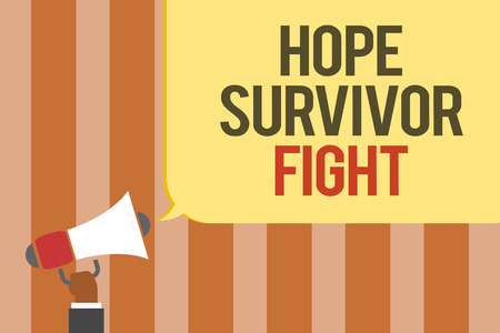 Writing note showing Hope Survivor Fight. Business photo showcasing stand against your illness be fighter stick to dreams Multiline text board typing make announcement declare messages idea