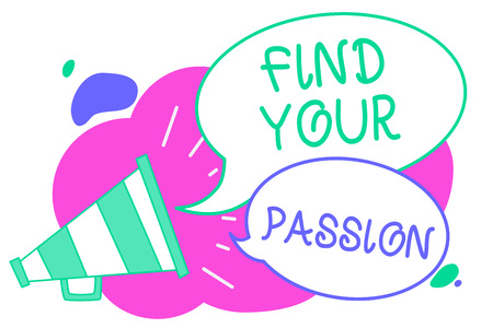 Writing note showing Find Your Passion. Business photo showcasing Seek Dreams Find best job or activity do what you love Creative multiple bubble cloudy curly design text lines messages idea