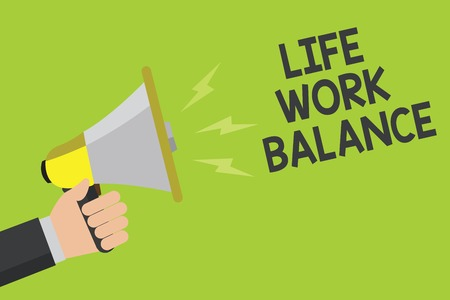 Handwriting text Life Work Balance. Concept meaning stability person needs between his job and personal time Announcement symbol speaker alarming warning signalling indication idea Фото со стока