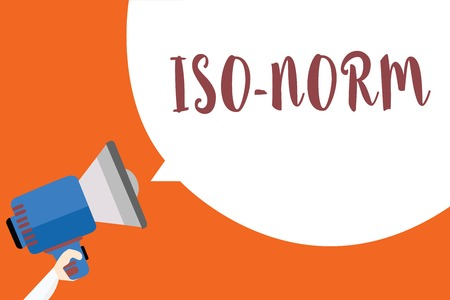 Writing note showing Iso Norm. Business photo showcasing An accepted standard or a way of doing things most people agreed Megaphone loudspeaker loud screaming idea talk talking speech listen Stock Photo