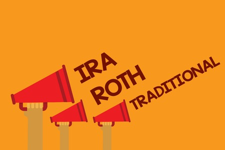 Word writing text Ira Roth Traditional. Business concept for are tax deductible on both state and federal Three lines text messages ideas multiple alarm speaker symbol announcement