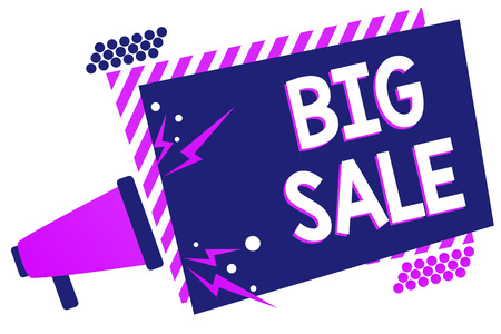 Text sign showing Big Sale. Conceptual photo putting products on high discount Great price Black Friday Megaphone loudspeaker purple striped frame important message speaking loud Standard-Bild - 104820013