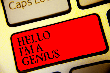 Conceptual hand writing showing Hello I am A Genius. Business photo text Introduce yourself as over average person to others Symbol computer idea script capital typing keyboard input button Standard-Bild
