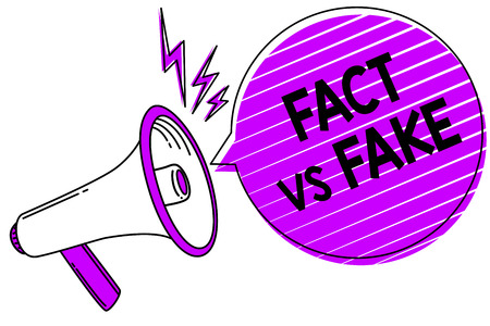 Conceptual hand writing showing Fact Vs Fake. Business photo showcasing Rivalry or products or information originaly made or imitation Megaphone loudspeaker scream idea talk grunge speech bubble