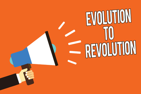 Writing note showing Evolution To Revolution. Business photo showcasing adapting to way of living for creatures and humans Man holding megaphone loudspeaker orange background message speaking Stockfoto