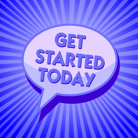 Writing note showing Get Started Today. Business photo showcasing lets do it Dont hesitate Now or never Get going No delay Sparkling waves design script text lines ponder ideas convey message