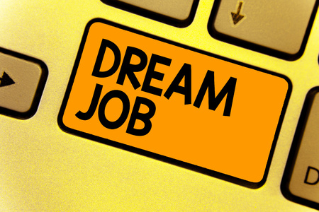 Word writing text Dream Job. Business concept for An act that is paid of by salary and giving you hapiness Keyboard yellow key Intention create computer computing reflection document Banco de Imagens