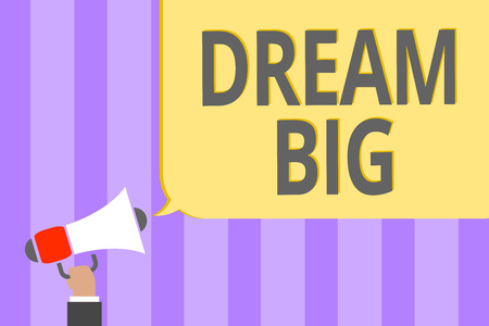 Text sign showing Dream Big. Conceptual photo To think of something high value that you want to achieve Megaphone loudspeaker loud screaming scream idea talk talking speech listen Banco de Imagens