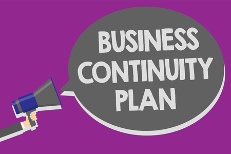 Handwriting text Business Continuity Plan. Concept meaning creating systems prevention deal potential threats Man holding megaphone loudspeaker speech bubble message speaking loud Stock fotó