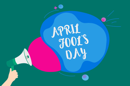 Word writing text April Fool s is Day. Business concept for Practical jokes humor pranks Celebration funny foolish Convey message idea speaker alarm announcement cloudy pattern design Stock Photo