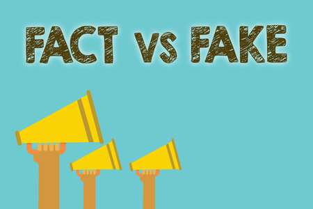 Handwriting text Fact Vs Fake. Concept meaning Rivalry or products or information originaly made or imitation Megaphones loudspeakers loud screaming scream talk talking speech grunge 스톡 콘텐츠