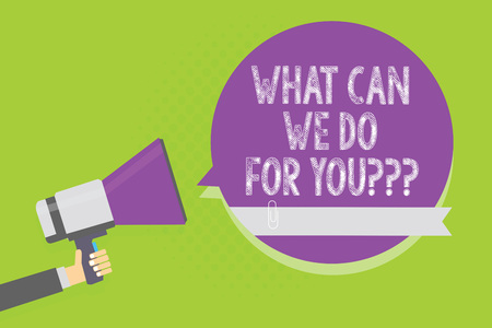 Word writing text What Can We Do For You question question question. Business concept for how may I help assist Man holding megaphone loudspeaker purple speech bubble green background Stock Photo