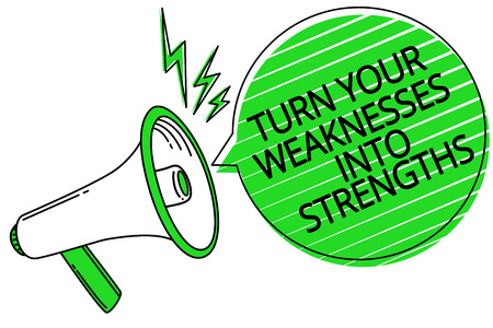 Text sign showing Turn Your Weaknesses Into Strengths. Conceptual photo work on your defects to get raid of them Megaphone loudspeaker green speech bubble stripes important loud message
