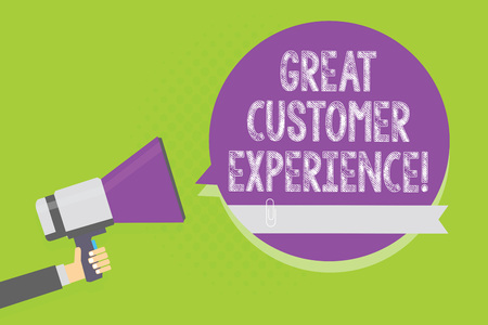 Word writing text Great Customer Experience. Business concept for responding to clients with friendly helpful way Man holding megaphone loudspeaker purple speech bubble green background