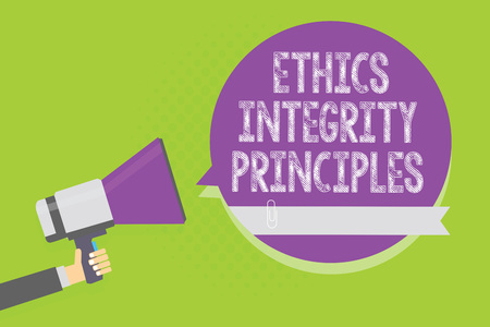 Word writing text Ethics Integrity Principles. Business concept for quality of being honest and having strong moral Man holding megaphone loudspeaker purple speech bubble green background