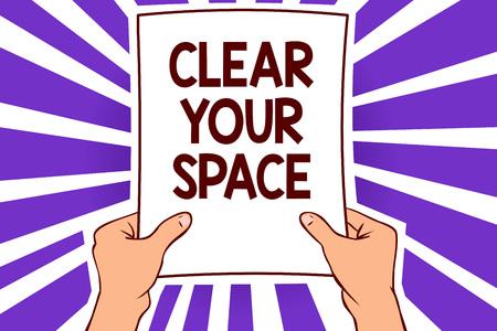 スペースをクリアする概念的な手書き。ビジネス写真テキストクリーンオフィススタジオエリア空リフレッシュリフレッシュペーパー再構成用紙ページテキストライン手波デザインは、通知メッセージのアイデアを伝えます