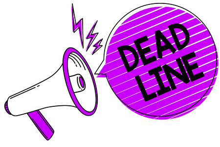 Conceptual hand writing showing Dead Line. Business photo showcasing Period of time by which something must be finished or accomplished Megaphone loudspeaker scream idea talk grunge speech bubble