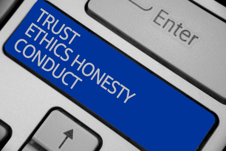 Conceptual hand writing showing Trust Ethics Honesty Conduct. Business photo text connotes positive and virtuous attributes Keyboard blue key create computer computing reflection document Stock Photo