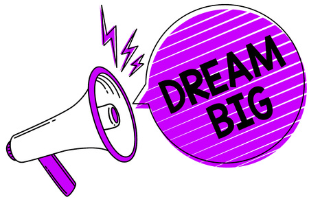 Conceptual hand writing showing Dream Big. Business photo showcasing To think of something high value that you want to achieve Megaphone loudspeaker scream idea talk grunge speech bubble Banco de Imagens