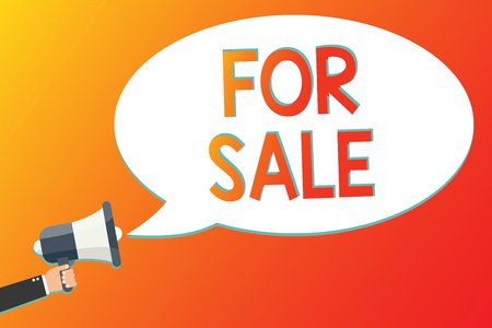 Writing note showing For Sale. Business photo showcasing putting property house vehicle available to be bought by others Megaphone loudspeaker screaming scream idea talk talking speech listen