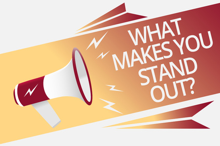 Conceptual hand writing showing What Makes You Stand Out question. Business photo text asking someone about his qualities Megaphone loudspeaker bubble important message speaking out loud Banque d'images - 104921387