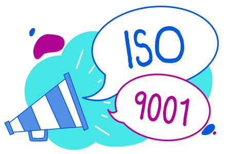 Conceptual hand writing showing Iso 9001. Business photo text designed help organizations to ensure meet the needs of customers Megaphone loudspeaker loud screaming idea talking speech bubbles