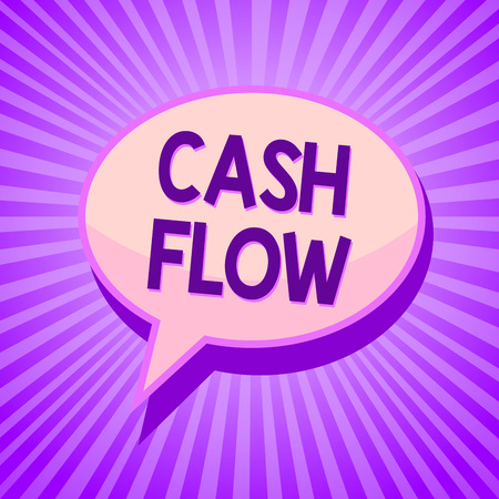 Conceptual hand writing showing Cash Flow. Business photo text Movement of the money in and out affecting the liquidity Speech bubble idea reminder purple shadows important intention ray Stock Photo
