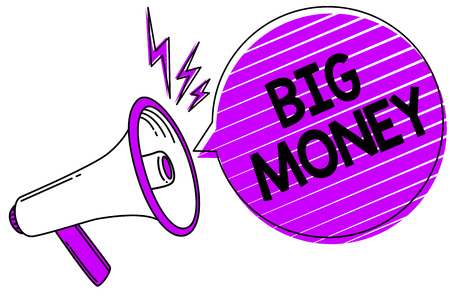 Conceptual hand writing showing Big Money. Business photo showcasing Pertaining to a lot of ernings from a job,business,heirs,or wins Megaphone loudspeaker scream idea talk grunge speech bubble Stock Photo