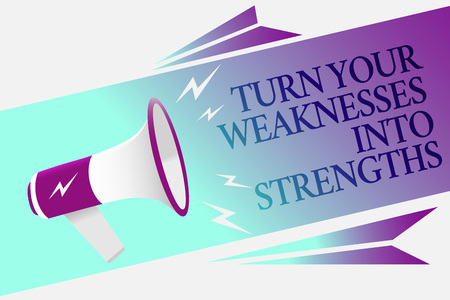Text sign showing Turn Your Weaknesses Into Strengths. Conceptual photo work on your defects to get raid of them Megaphone loudspeaker speech bubble important message speaking out loud Stock Photo