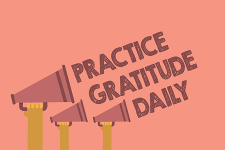 Writing note showing Practice Gratitude Daily. Business photo showcasing be grateful to those who helped encouarged you Hands holding megaphones loudspeaker important message pink background