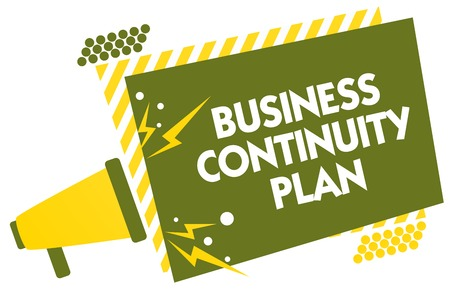 Writing note showing Business Continuity Plan. Business photo showcasing creating systems prevention deal potential threats Megaphone loudspeaker yellow striped important message speaking loud