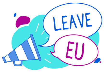 Conceptual hand writing showing Leave Eu. Business photo text An act of a person to leave a country that belongs to Europe Megaphone loudspeaker loud screaming idea talking speech bubbles Stock fotó