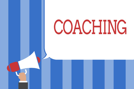 Conceptual hand writing showing Coaching. Business photo text person supports client in achieving specific personal goal Megaphone loudspeaker screaming idea talk talking speech bubble