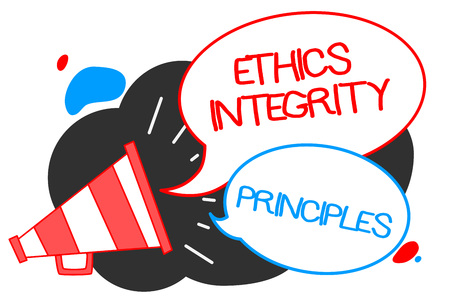 Text sign showing Ethics Integrity Principles. Conceptual photo quality of being honest and having strong moral Megaphone loudspeaker speech bubbles important message speaking out loud 스톡 콘텐츠