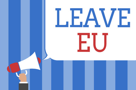Conceptual hand writing showing Leave Eu. Business photo text An act of a person to leave a country that belongs to Europe Megaphone loudspeaker screaming idea talk talking speech bubble