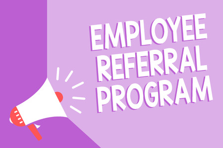 Word writing text Employee Referral Program. Business concept for employees recommend qualified friends relatives Megaphone loudspeaker purple background important message speaking loud Stock Photo