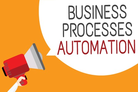 Text sign showing Business Processes Automation. Conceptual photo performed to achieve digital transformation Man holding megaphone loudspeaker speech bubble message orange background
