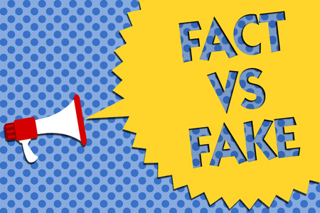 Conceptual hand writing showing Fact Vs Fake. Business photo showcasing Rivalry or products or information originaly made or imitation Megaphone loudspeaker loud scream idea talk halftone speech