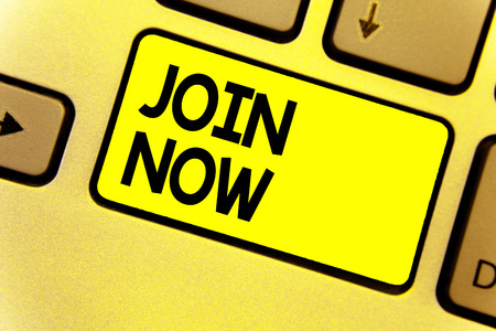 Writing note showing Join Now. Business photo showcasing An invite to a person or a friend to become a member of the group Keyboard yellow Intention create computer computing reflect document