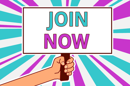 Conceptual hand writing showing Join Now. Business photo showcasing An invite to a person or a friend to become a member of the group Man hold board idea reflection intention strike background